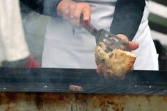 饺子烤了肉 免版税库存照片