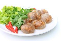 饺子花生猪肉蒸的珍珠粉 图库摄影