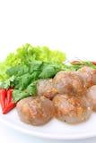饺子花生猪肉蒸的珍珠粉 免版税图库摄影