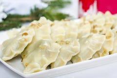 饺子-传统波兰盘 库存照片