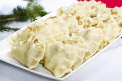 饺子-传统波兰盘 图库摄影