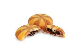 饼干充满巧克力奶油 图库摄影