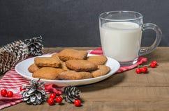 饼干和牛奶在一块红色餐巾在圣诞节装饰与自由空间 免版税图库摄影