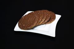饼干巧克力牌照白色 库存照片