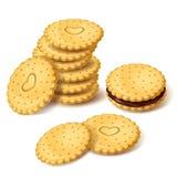 饼干曲奇饼或薄脆饼干与奶油色传染媒介 库存例证