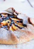 饼干用桃子和蓝莓 图库摄影