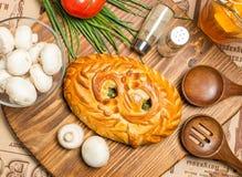 饼用葱和鸡蛋 免版税图库摄影