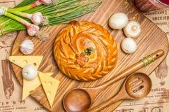饼用葱和鸡蛋 免版税库存图片