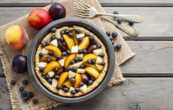 馅饼用桃子、南瓜、李子、梨和蓝莓在秋天集合 免版税图库摄影