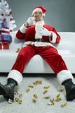 贪馋圣诞老人 库存照片