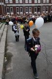 首先叫 天9月1日,知识在俄国学校 天知识 日第一所学校 库存照片