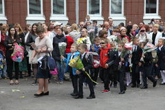 首先叫 天9月1日,知识在俄国学校 天知识 日第一所学校 图库摄影
