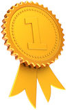 首先证书经典之作金黄安排丝带 免版税图库摄影