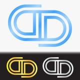 首写字母DD优质蓝色金属被转动的小写商标模板在白色背景中和在金子和银的习惯预览 免版税库存照片