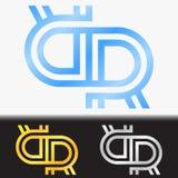 首写字母RR优质蓝色金属被转动的小写商标模板在白色背景中和在金子和银的习惯预览 库存图片