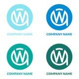 首写字母WA或AW W圈子Shape Creative Company商标设计模板 向量例证