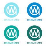首写字母WA或AW W圈子Shape Creative Company商标设计模板 图库摄影