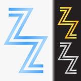 首写字母ZZ优质蓝色金属被转动的小写商标模板在白色背景中和在金子和银的习惯预览 库存图片