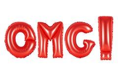 首字母缩略词和简称, omg,红颜色 免版税库存图片