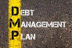 首字母缩略词DMP -债务管理计划 库存图片
