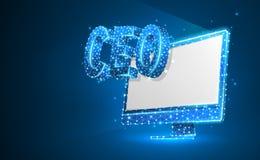 首席执行官,在显示器屏幕上的CEO 设备,领导,领导者的地位概念 r 皇族释放例证
