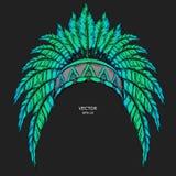 美洲色�_首要当地的美洲印第安人色 红色和黑蟑螂 老鹰印地安羽毛头饰