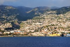 首都丰沙尔海岛马德拉岛视图 免版税库存照片