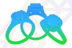 首饰与金刚石剪影纹理的定婚戒指 3d翻译 免版税库存照片