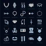 首饰平的纵的沟纹象,金银手饰店签字 修宝石辅助部件-金子定婚戒指,宝石耳环,银色链子 库存例证