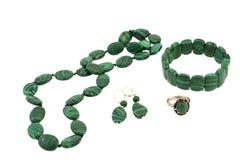 首饰由银和绿沸铜制成 库存图片