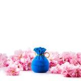 首饰的蓝色天鹅绒礼物盒 图库摄影