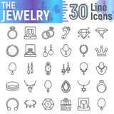 首饰线象集合,辅助标志汇集,传染媒介剪影,商标例证,珠宝标志线性图表 库存照片