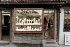 首饰街道在新帕扎尔,塞尔维亚 库存图片