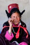 香客在拉达克,印度 免版税库存照片