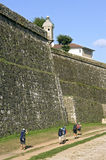 香客沿巨型走,古老,城市墙壁,瓦伦西亚 库存图片