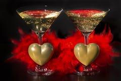 香宾和情人节、爱和豪华 库存图片