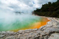 香宾水池在罗托路亚,日出的新西兰 库存照片
