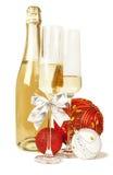 香宾汽酒和新年构成 库存照片