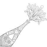 香宾爆炸瓶, zentangle样式 免版税库存图片