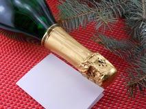 香宾瓶,新年邀请卡片 库存照片