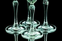 香宾的Glas在特写镜头的 库存图片