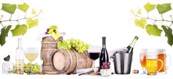 香宾,红色和白葡萄酒,啤酒 库存图片