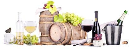 香宾,红色和白葡萄酒 免版税库存图片