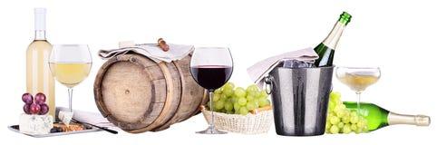 香宾,红色和白葡萄酒 库存照片