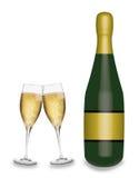 香宾玻璃和瓶 免版税库存图片