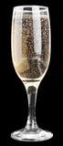 香宾玻璃,隔绝在黑色 免版税图库摄影