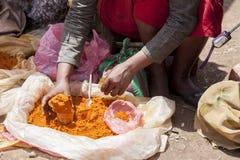香料卖主在埃塞俄比亚 库存图片