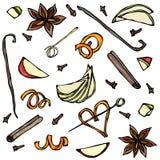 香料和果子切片的汇集 茴香,桂香,丁香,香草,苹果计算机,橙皮 手拉的剪影传染媒介例证 库存图片