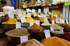 香料市场摊位,市场瓦吉里,设拉子,伊朗 免版税库存图片