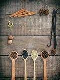 香料的构成在木背景的:多香果,丁香,茴香,八角,香草,桂香,绿色豆蔻果实,肉豆蔻,黑 免版税库存图片